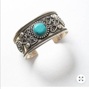 Turquoise Stone and Silver Cuff Bracelet
